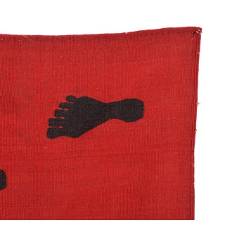 Mid Century Vintage Red Black Foot, Wall Hanging Tapestry Art After Pedro Friedeberg For Sale