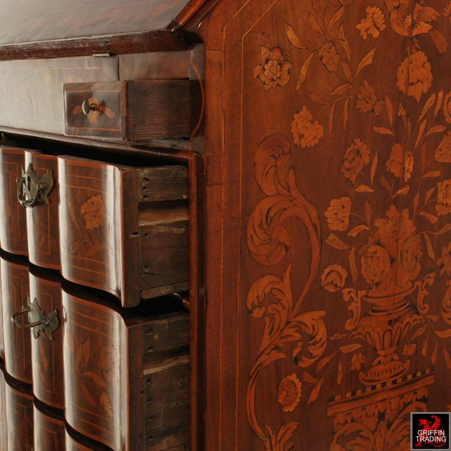 Fine Dutch Marquetry Drop Front Secretary / Desk For Sale - Image 11 of 13