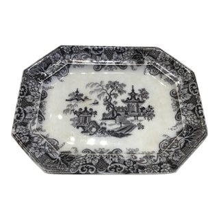Antique Mid-19th Century Mulberry/Black Platter For Sale
