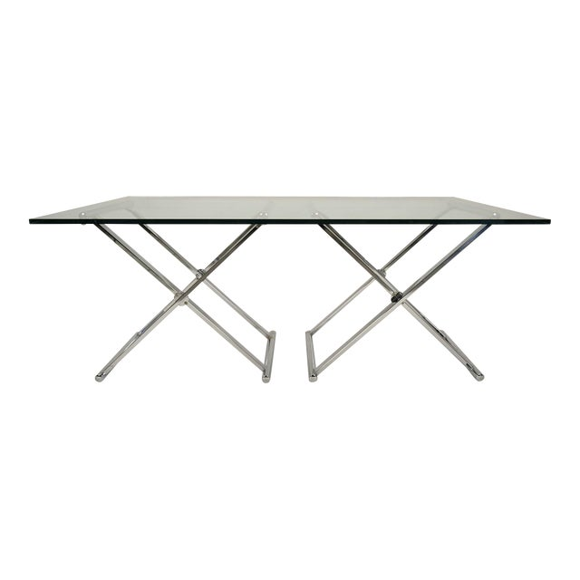 Mid-Century Modern Chrome and Glass Console Table - Image 1 of 6