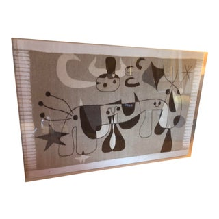 Joan Miro Woven Wool Tapestry in Shadow Box For Sale