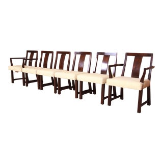 Edward Wormley for Dunbar Walnut Dining Chairs, Set of Six For Sale
