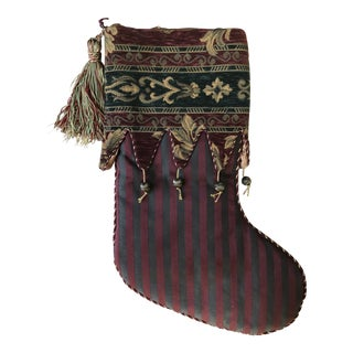Striped Fabric Christmas Stocking With Tapestry Cuff With Gold Beads For Sale