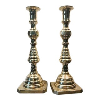 Vintage Solid Brass Art Deco Candle Holders - A Pair
