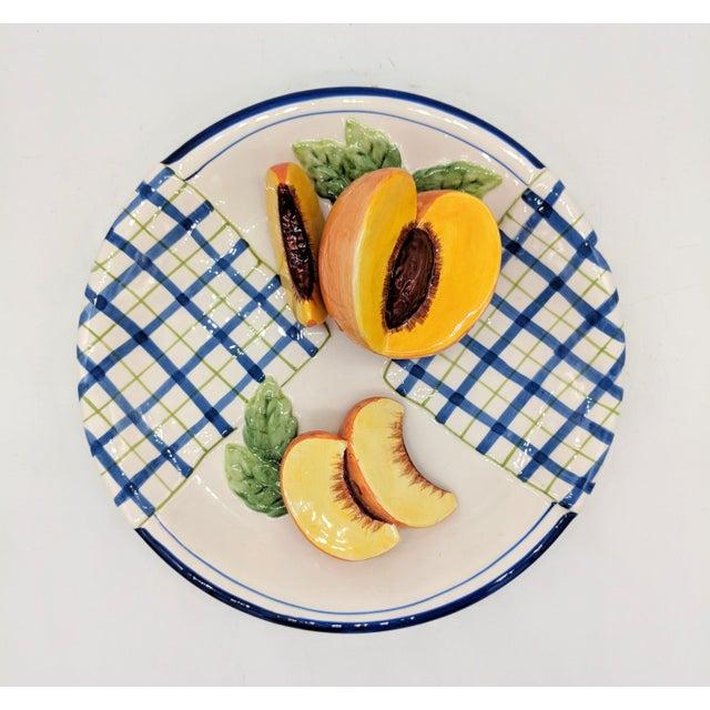 Ceramic Bella Casa Trompe l'Oeil Blue and White Peach Fruit Plate For Sale - Image 7 of 7