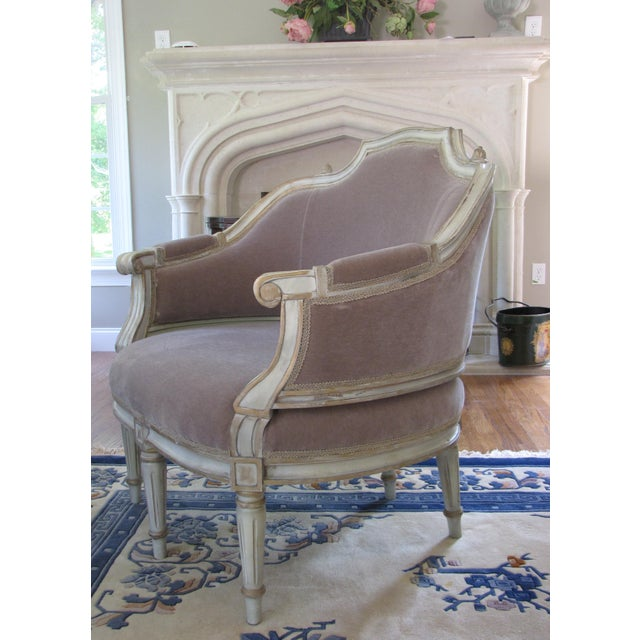 French Taupe Mohair Settee or Armchair - Image 3 of 5