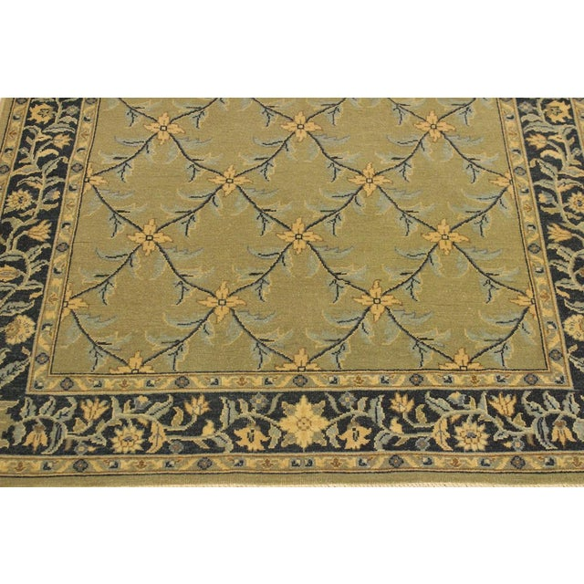 1980s Semi Antique Istanbul Hortenci Lt. Green/Charcoal Turkish Hand-Knotted Rug -4'2 X 6'0 For Sale - Image 5 of 8