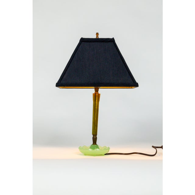 Mid-Century Resin & Jadeite Dressing Table Lamp For Sale - Image 9 of 9