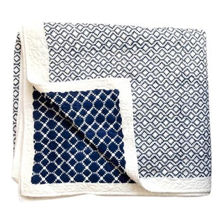 Contemporary King Jali Navy Blue Cotton Quilt For Sale