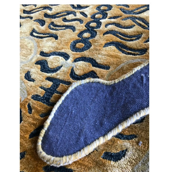 2010s New Modern Wool Tibetan Tiger Cat Rug 4' X 6' For Sale - Image 5 of 9