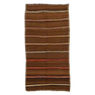 "Striped Vintage Brown Turkish Kilim Rug-5'2x10'2"" For Sale"