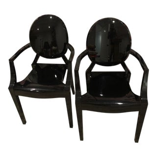 Philippe Starck Black Louis Acrylic Side Chairs - a Pair For Sale