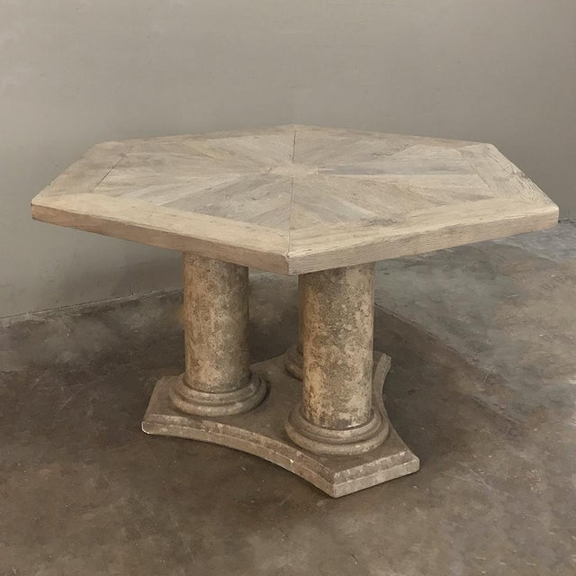 French Mid-Century Neoclassical Limestone and Oak Center Table For Sale - Image 3 of 13