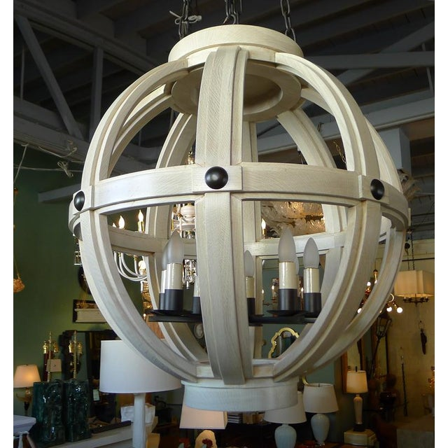 Customizable Paul Marra Large Carved Sphere Chandelier - Image 8 of 8