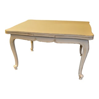 French Louis XV Style Painted Dining Table With Pull Out Leaves, Good for Desk as Well. For Sale