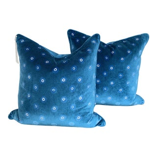 "Peacock Style Velvet Pillows 22"" - a Pair For Sale"