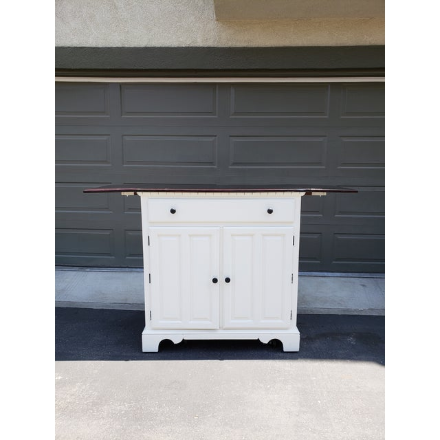Country Vintage Country White Buffet/Bar For Sale - Image 3 of 7