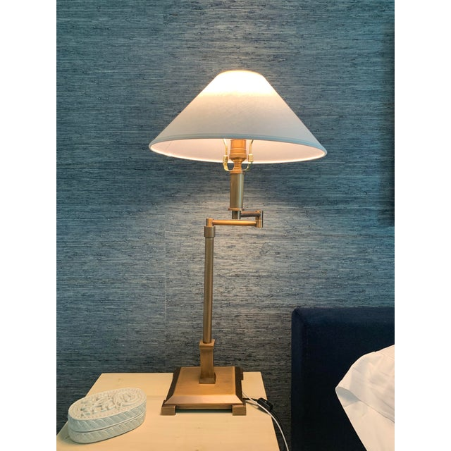 2010s 2 Rh Petit Candlestick Swing Arm Table Lamps W Linen Shades For Sale - Image 5 of 5