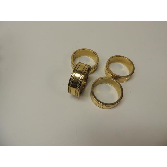 Mid-Century Modern Set of '4' Solid Brass Ralph Lauren Ribbon Napkin Holders For Sale - Image 3 of 5