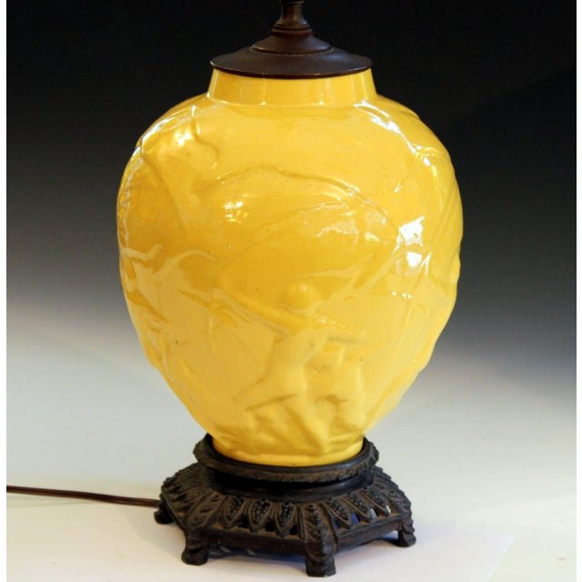 """Ceramic Vintage Stangl Art Deco Pottery """"Archers"""" Atomic Yellow Large Globe Vase Lamp For Sale - Image 7 of 11"""