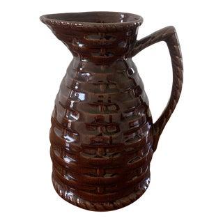 Vintage Ceramic Basketweave Jug For Sale
