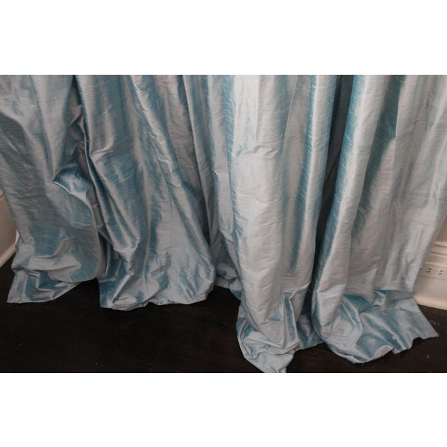 French Beacon Hill/Robert Allen Chambray Blue 100% Silk Drapes - 8 Panels For Sale - Image 3 of 8