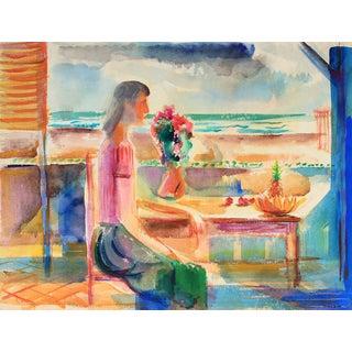 Woman on the Veranda Mid Century Colorful Watercolor For Sale