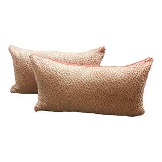 Contemporary Scalamandre Raised Velvet Apricot Lumbar Pillows - a Pair For Sale