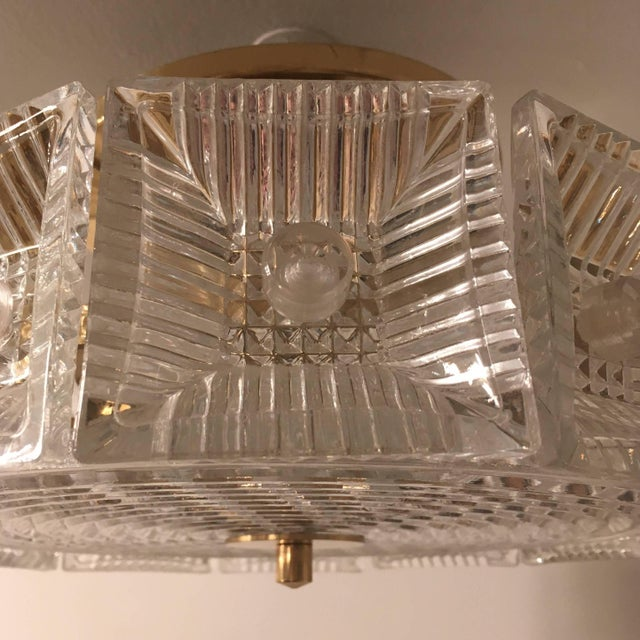 Orrefors Swedish Crystal 1950s Flush Ceiling Hanging Amid Century Pendant For Sale In New York - Image 6 of 9