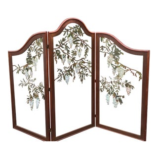 Antique Three Panel Mahogany & Painted Glass Screen W Wisteria Flowers