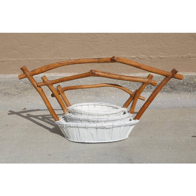 White Live Edge Pagoda Top Nesting Baskets - Set of 3 For Sale - Image 8 of 10