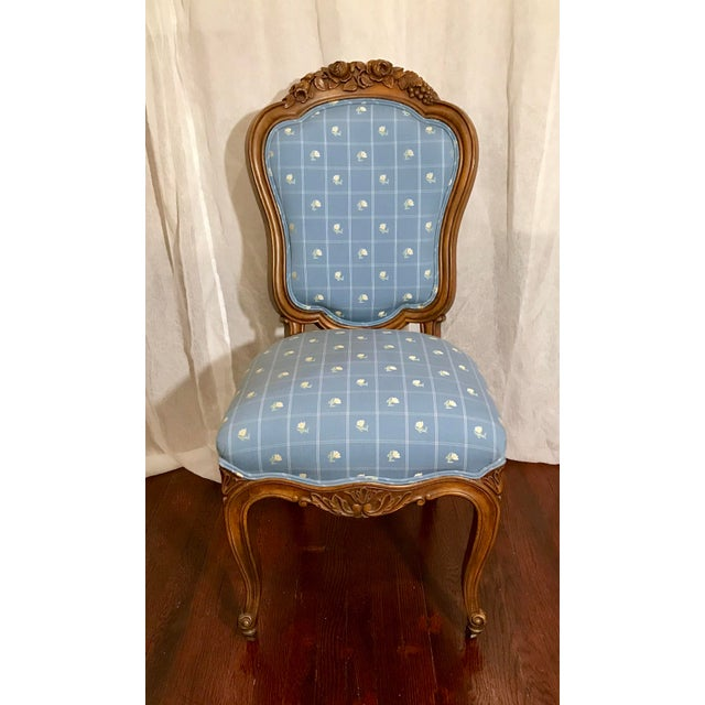 Beautiful Antique Slipper Chair with delicately detailed, floral, carved wood. Blue windowpane fabric upholstery, with...