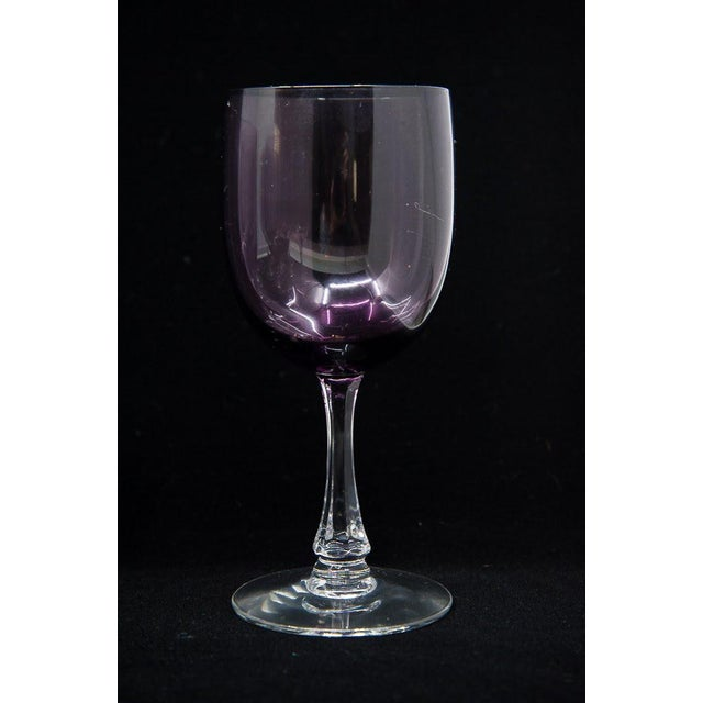 "1950s Fostoria Mid-Century Modern ""Fascination"" Amethyst Wine Glasses - Set of 12 For Sale - Image 5 of 9"