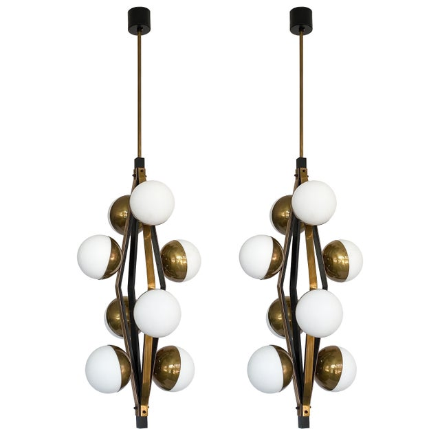 Pair of Stilnovo Brass Eight Globe Pendant Chandeliers For Sale - Image 13 of 13