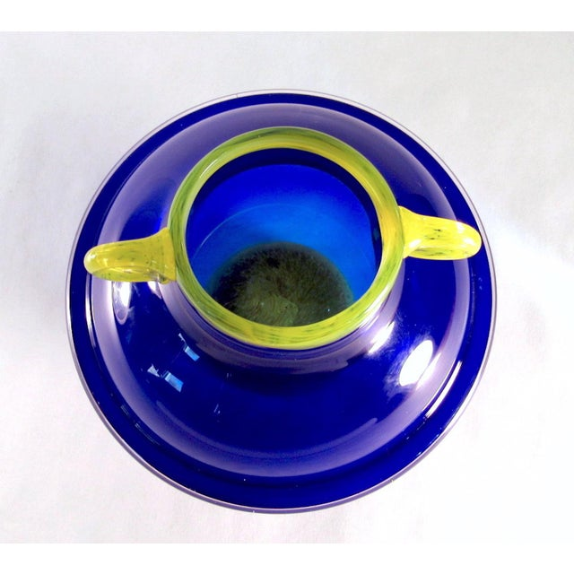 Glass Vintage Signed Cobalt and Yellow Art Glass Amphora Vase For Sale - Image 7 of 11