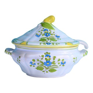 1970s Vintage Italian Hand-Painted Pottery Soup Tureen For Sale