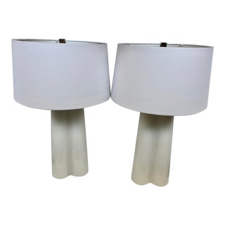 Modern Milk Glass Trefoil Table Lamps With Shades - a Pair For Sale