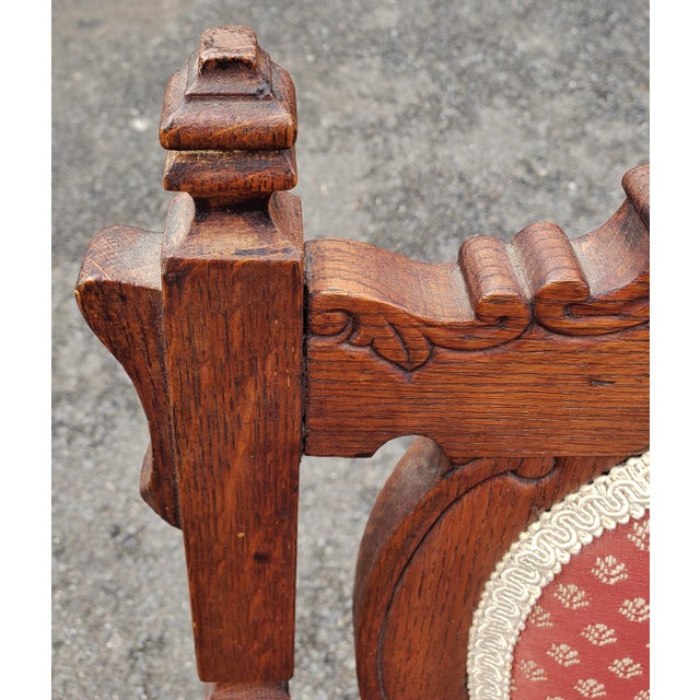 Red 19th C Victorian American Upholstered Carved Oak Rocking Chair For Sale - Image 8 of 10