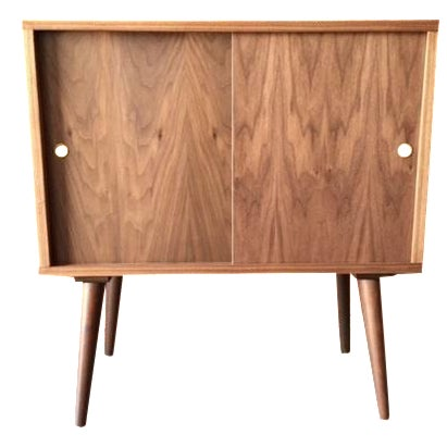 Mid-Century-Style Record Bar Cabinet For Sale