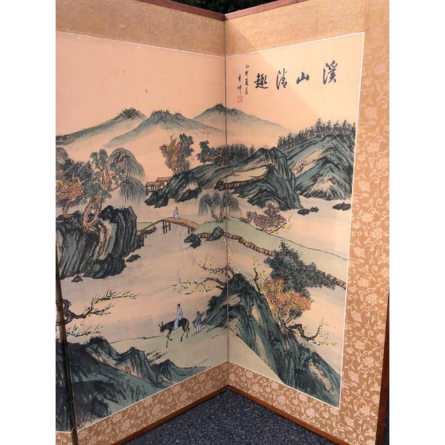 Vintage Silk Asian Folding Screen For Sale - Image 9 of 10