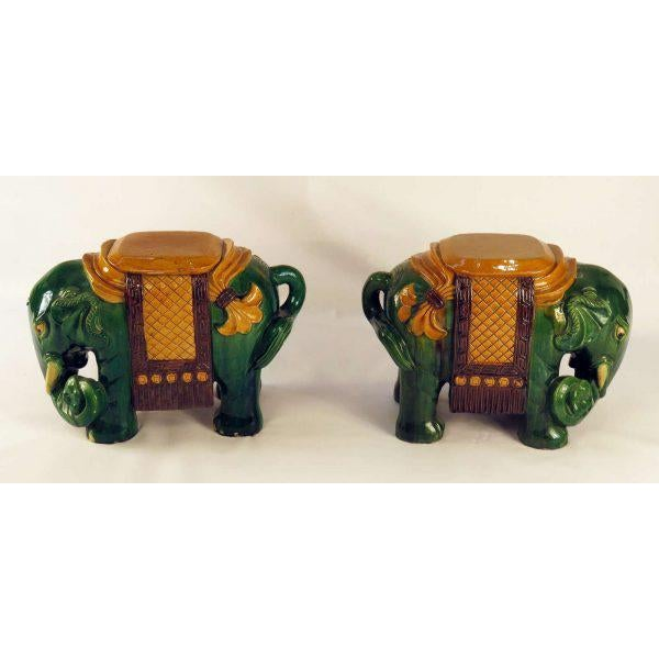Asian Circa 1850 Ching Dynasty Green Glazed Elephant Garden Seats - A Pair For Sale - Image 3 of 7