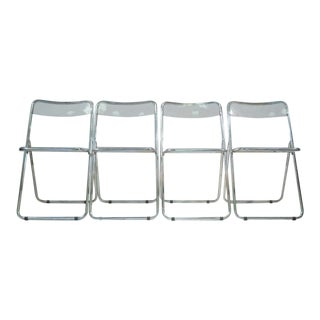 Pila Style Modern Lucite Folding Chairs - Set of 4 For Sale