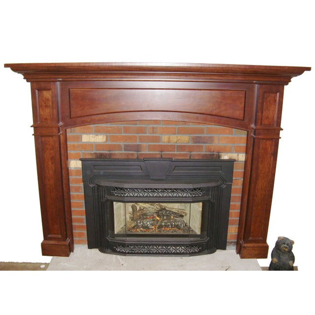 2010s Modern Solid Cherry Fireplace Mantle Arched For Sale - Image 5 of 12