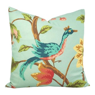 "Boho Chic Thibaut Baron in Aqua Pillow Cover - 20"" X 20""Aqua With Exotic Bird Pattern Cotton Cushion Case For Sale"