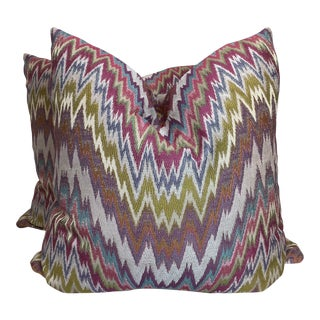 "Bright Woven Flamestitch 22"" Pillows-A Pair For Sale"