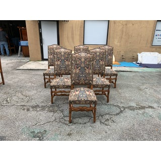 1900s Century French Country Louis XIII Style Os De Mouton Dining Chairs - Set of 6 Preview