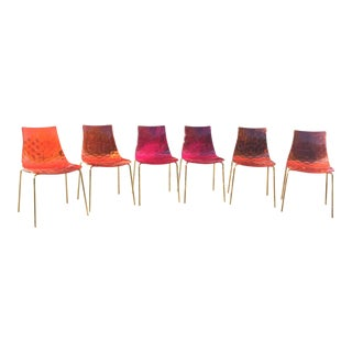 Set of 6 Orange & Pink Calligaris Ice Dining Chairs For Sale