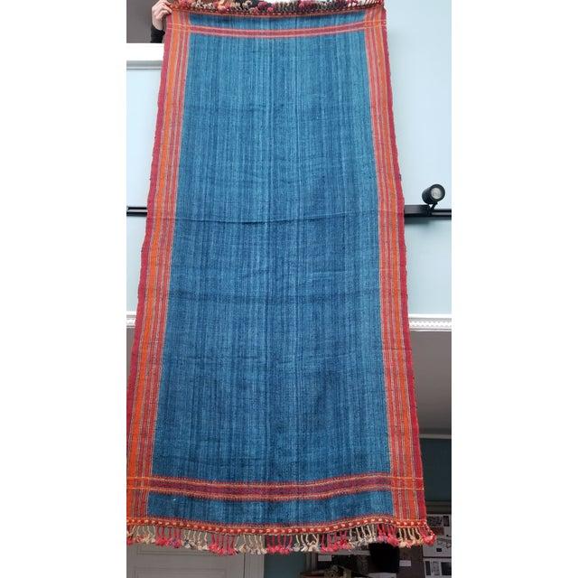 Late 20th Century Vankar Indigo and Orange Wool Throw For Sale - Image 5 of 6