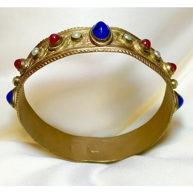 1920s Austrian Lapis-Blue Glass Cabocon Jeweled Bangle For Sale - Image 4 of 7