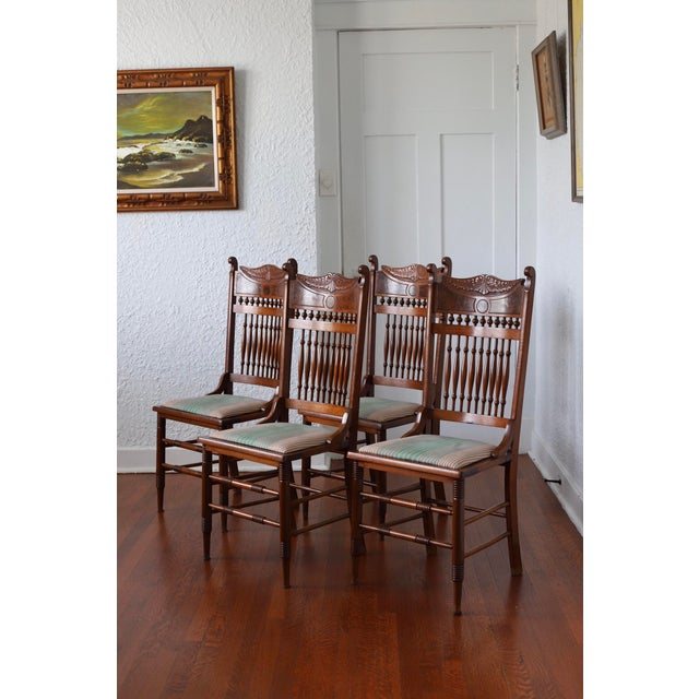 1900 - 1909 Early 20th Century Antique Stomps-Burkhardt Walnut Dining Chairs - Set of 4 For Sale - Image 5 of 10